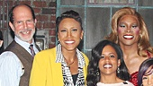 Robin Roberts takes a snapshot with the cast of Kinky Boots.
