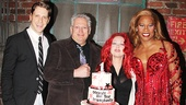 Kinky Boots stars Andy Kelso and Billy Porter flank scribe Harvey Fierstein and composer Cyndi Lauper.