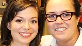 Margo Seibert (Adrian) with Rosie O'Donnell. See Rocky at the Winter Garden Theatre!