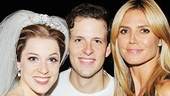 Cinderella co-stars Paige Faure (Ella) and Joe Carroll (Prince Topher) with Project Runway host and model Heidi Klum.