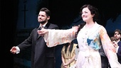 Jeremy Jordan and Laura Michelle Kelly take a bow on opening night of Finding Neverland.