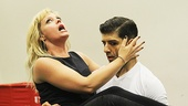 Elizabeth Stanley and Tony Yazbeck ham it up in rehearsal.