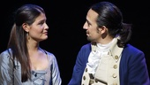 Phillipa Soo as Eliza Hamilton and Lin-Manuel Miranda as Alexander Hamilton in Hamilton
