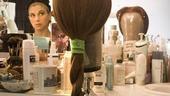 Sutton Foster backstage at Shrek –wig in mirror