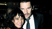 After a demanding evening on stage, Blood co-stars Daphne Rubin-Vega and Ethan Hawke cozy up at their well-earned celebration.
