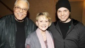 Two time Tony winner James Earl Jones celebrates his latest Broadway success with wife Cecilia Hart and son Flynn. 