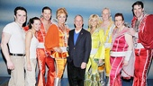 Mamma Mia! stars Corey Greenan, Liana Hunt, Clarke Thorell, Judy McLane, Lisa Brescia, John Dossett, Jennifer Perry and Patrick Boll snap a sweet photo with Mayor Bloomberg.