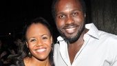 Tony nominee Joshua Henry, who plays Jake, smiles for a photo with onstage wife Nikki Renee Daniels (who plays Clara)…