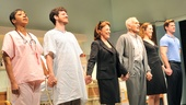 The cast of The Lyons takes a bow on opening night: Brenda Pressley, Michael Esper, Linda Lavin, Dick Latessa, Kate Jennings Grant and Gregory Wooddell.