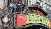 The cast of Stick Fly heads to the roof of the Hard Rock Cafe to take in their new home: Times Square!