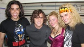 Rock of Ages film star Diego Boneta is stoked to score a post-show photo with Broadway leads Dan Domenech, Rebecca Faulkenberry and Jeremy Woodard.