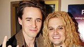 Look who else came to see Rock of Ages: Spider-man star Reeve Carney! The handsome rocker and Jeremy Woodard show off their best rock horns…