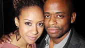 Onstage couple Tracie Thoms and Dulé Hill get cheek to cheek for our camera.