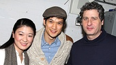 Chinglish stars Jennifer Lim and Gary Wilmes welcome Harry Shum Jr. to the Longacre Theatre.
