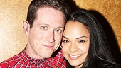 Matt Caplan gets cheeky with his wife, Karen Olivo, backstage at Spider-Man, Turn Off The Dark.