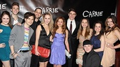 The full supporting cast and ensemble of Carrie gather for an opening night photo. From left: Blair Goldberg, Jake Boyd, Andy Mientus, Ben Thompson, Jeanna de Waal, Christy Altomare, Derek Klena, Jen Sese, F. Michael Haynie, Elly Noble and Mackenzie Bell.