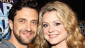 Raúl Esparza shares a snapshot with Kendra Kassebaum (who plays Jonas' sister Sam) at the Leap of Faith press junket.