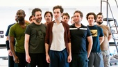 Isaiah Johnson, Kevin Del Aguila, Rick Holmes, Adam Chanler-Berat, Christian Borle, David Rossmer, Carson Elrod and Greg Hildreth get ready for action.