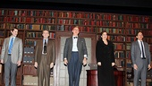 The stars of the The Columnist, Brian J. Smith, Boyd Gaines, John Lithgow, Margaret Colin and Stephen Kunken, take a bow at the Samuel J. Friedman Theatre.