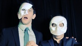 The men behind the (super creepy!) masks: Newsies own Ben Fankhauser and Andrew Keenan-Bolger. 