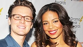 Glee alum and presenter Jonathan Groff is all smiles with By the Way, Meet Vera Stark star Sanaa Lathan.