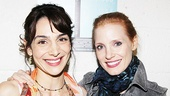 Annie Parisse is delighted to get a post-show hug from Jessica Chastain, Broadway-bound in The Heiress.