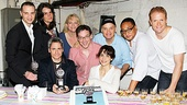 Clybourne producer Jordan Roth, director Pam MacKinnon and playwright Bruce Norris join cast members Jeremy Shamos, Annie Parisse, Frank Wood, Damon Gupton and Brendan Griffin for a slice of Tony cake.