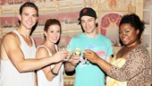 Ghost stars Richard Fleeshman, Caissie Levy, Bryce Pinkham and Da'Vine Joy Randolph raise a glass to their 100th Broadway performance!