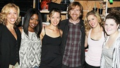 Amanda Green, Adrienne Warren, Kate Rockwell, Trey Anastasio, Taylor Louderman and Ryann Redmond ine up for a group shot. Cheese!