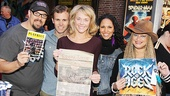 Rock of Ages stars Tad Wilson, Tony LePage, Ashley Spencer, Jennifer Rias and Michele Mais rock out in Times Square.