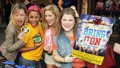 Bring It On stars Kate Rockwell, Ariana DeBose, Taylor Louderman and Ryann Redmond cheerfully hock their shows merchandise. 