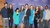 Cinderella's principal players are all smiles as they meet the press: From left: Greg Hildreth, Marla Mindelle, Ann Harada, Laura Osnes, Santino Fontana, Victoria Clark, Harriet Harris, Peter Bartlett and Phumzile Sojola.