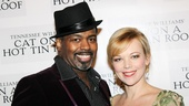 Lance Roberts, who plays Lacey, and Emily Bergl, who is fantastic as Mae, enjoy the opening night party.