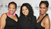 Angela Grovey, Rebecca Naomi Jones and McKenzie Frye, who appeared in the Vineyard's production of Wig Out!, get back together on the red carpet.