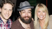 Kinky players Daniel Stewart Sherman, Eric Anderson, Andy Kelso backstage guest Christie Brinkley and Celina Carvajal lean in for a group shot.