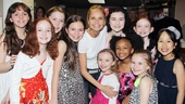 After their hug, Kristin Chenoweth gets a proper group photo with all the Annie orphans: Georgi James, Taylor Richardson, Jaidyn Young, Madi Rae DiPietro, Lilla Crawford, Sadie Sink, Emily Rosenfeld, Tyrah Skye Odoms, Brooklyn Shuck and Junah Jang.