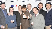 Meet the Yankees! John Wernke, Keith Nobbs, Bill Dawes, Francois Battiste, CJ Wilson, Peter Scolari, Chris Henry Coffey and Christopher Jackson get ready to hit the field for Bronx Bombers on Broadway.