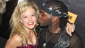 Rock of Ages star Kate Rockwell gets a kiss from the NFL hunk.