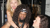 Ahman Green parties backstage with Rock of Ages co-stars Kate Rockwell & Aaron C. Finley.