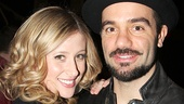 Caissie Levy and Ramin Karimloo relax at the Imperial Theatre.