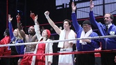 Rocky stars Jennifer Mudge, Terence Archie, Margo Seibert, Andy Karl, Dakin Matthews and Danny Mastrogiorgio salute the crowd.