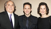 Santino Fontana is flanked by Moss Hart's real-life kids, Christopher and Catherine Hart.