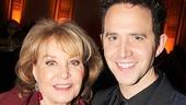 The View's Barbara Walters greets Act One star Santino Fontana.