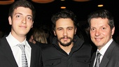 After the show, Of Mice and Men star James Franco (c.) strikes a pose with Derek and Charles Matar, friends of the Actors Fund.