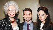 Drama League president Jano Herbosch with The Cripple of Inishmaan's Daniel Radcliffe and Sarah Greene.