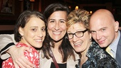 Fun Home reunion! Co-stars Judy Kuhn and Michael Cerveris flank composer Jeanine Tesori and book writer and lyricist Lisa Kron.