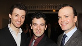 A Tony-nominated trio! Gentleman's Guide stars Bryce Pinkham and Jefferson Mays flank Beautiful's Jarrod Spector.