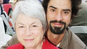 Hamish Linklater pulls his mom, vocal coach Kristin Linklater, in for a photo.