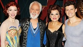 Priscilla Lopez kicks back with co-stars Charlotte d'Amboise (Fastrada), John Rubinstein (Charles) and Kyle Dean Massey after the show.