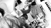 Girls in Jersey Boys – Heather Ferguson in the mirror with long wig